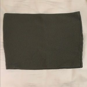 Dark green ribbed tube top